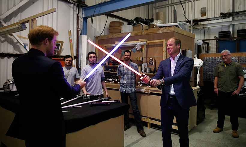 The force is with the British heir. William enjoyed a friendly lightsabre battle with his younger brother Prince Harry during a tour of the <em>Star Wars</em> set at Pinewood studios in April 2016. 