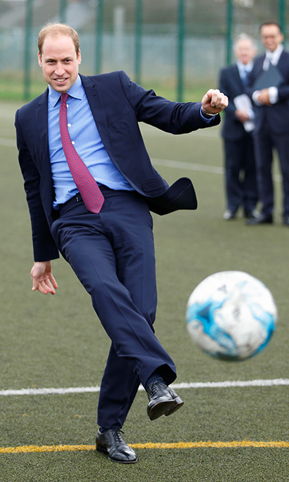 As president of the Football Association, Prince William is a huge soccer fan. Naturally, he jumped at the chance to kick a ball around while attending the Football for Peace initiative in Birmingham in December 2015. 