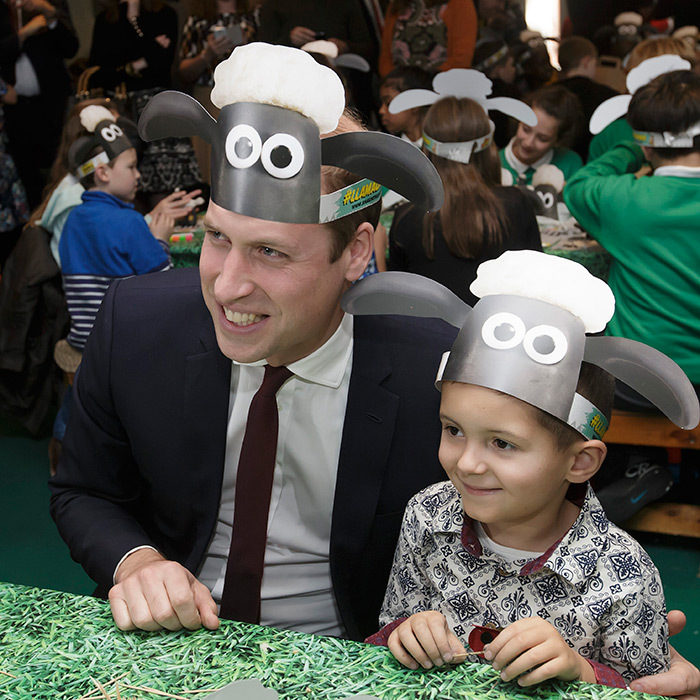 William showed off his silly side while wearing a Shaun the Sheep hat with a little boy at the BAFTA Charities Forum in October 2015. 