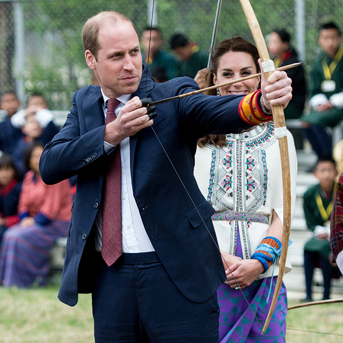 William showed off his archery skills during the royal tour of of Bhutan in 2016.  