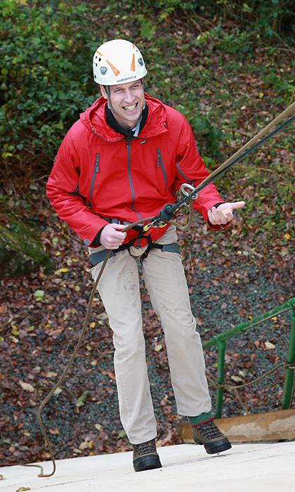 Heights? No problem! The Duke of Cambridge abseiled down a cement wall at the Towers of Residential Outdoor Centre in Capel Curig, England.