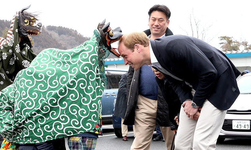 Prince William has participated in a variety of welcoming ceremonies during his travels, including a Shishimai Ceremony in Japan.   