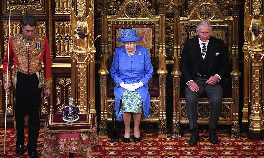 The Queen is accompanied by her son Prince Charles at the 2017 State Opening of Parliament, as her husband Prince Philip is in hospital.