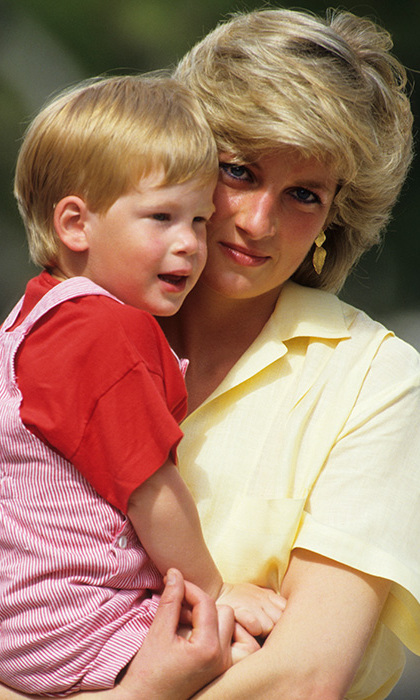 Prince Harry pictured with his late mother, Princess Diana.