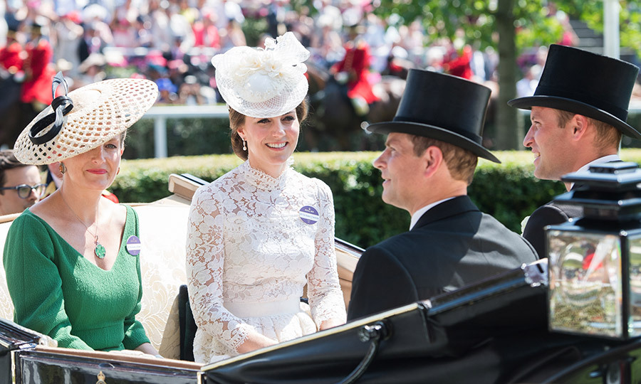 In line with tradition, the royals make their arrival by horse-drawn carriage. Seen here, Prince Edward and Sophie Wessex ride into Ascot with the Duke and Duchess of Cambridge.</p>