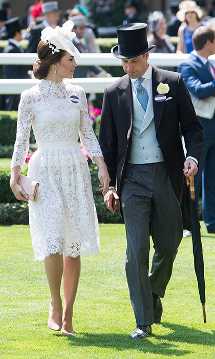 <p>Three days after sharing the balcony at Buckingham Palace with their children George and Charlotte, the Cambridges – with Kate wearing Alexander McQueen – were back to being a twosome at the racecourse. </p>