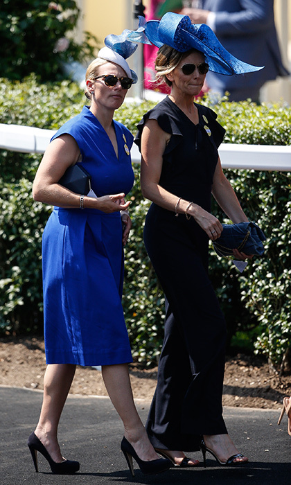 <p>Zara Tindall looked lovely in royal blue as she strolled along with a friend.</p>