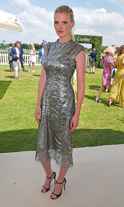 Lara Stone shimmered in metallic Christopher Kane at the Cartier Queen's Cup Polo Cup in England.
