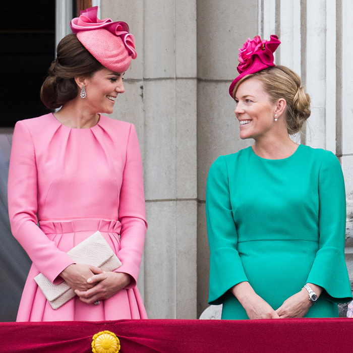 Both wearing pretty pink hats, the Duchess of Cambridge and her cousin-in-law Autumn Phillips were looking rosy in jewel tones during Trooping The Colour in London.
