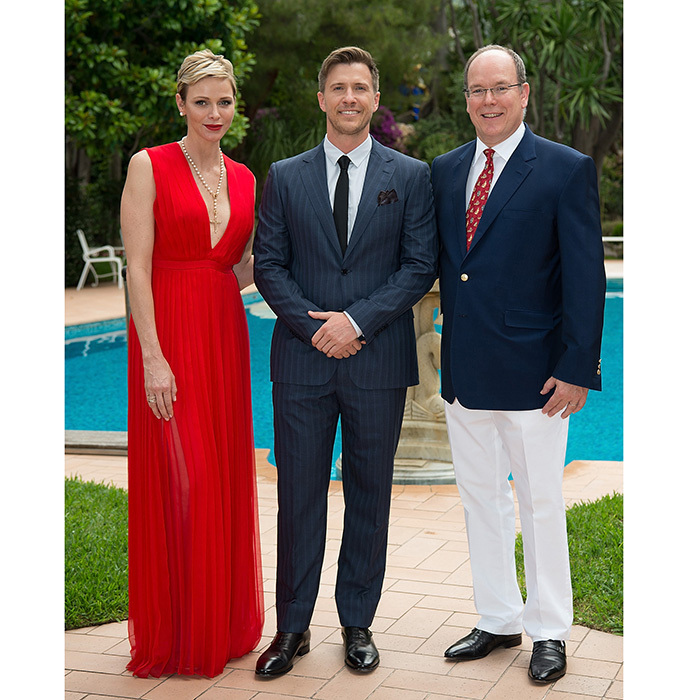 Princess Charlene of Monaco was stunning in a red goddess gown as she greeted star guests with Prince Albert II of Monaco at the The Bold and The Beautiful 30th anniversary celebration during the 57th Monte Carlo TV Festival on June 18. 