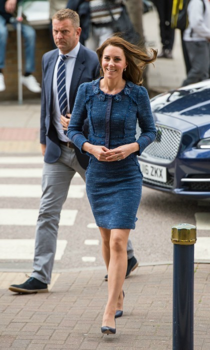 Kate stepped out once again in her demure, blue Rebecca Taylor tweed skirt suit, which she paired with her Manolo Blahnik court shoes for her visit to meet with victims of the London Bridge and Borough Market terror attacks at King's College Hospital.