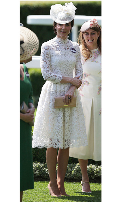 Duchess Kate was lovely in lace, wearing custom Alexander McQueen at Day One of Royal Ascot in Ascot, England.
