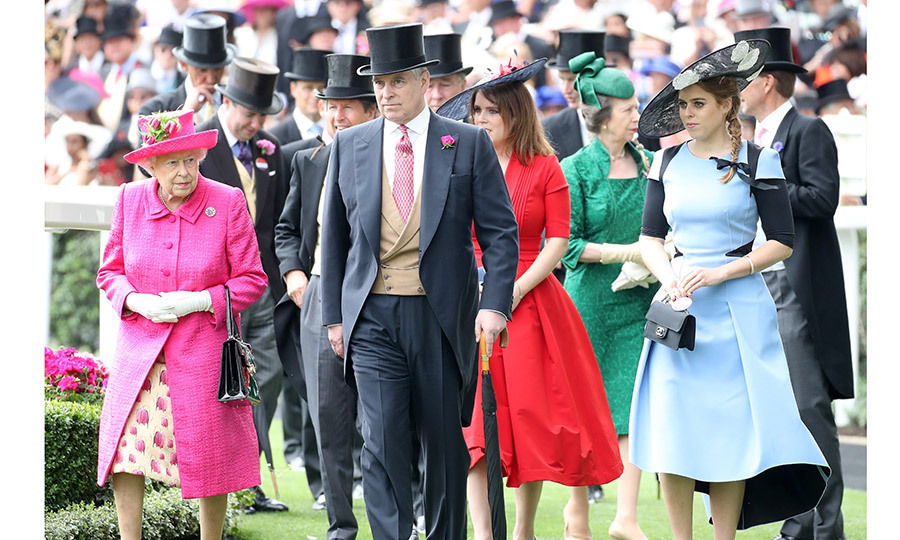 On day three of Ascot, also known as Ladies' Day, it was a royal family affair as the Queen was joined by son Prince Andrew, granddaughters Princess Eugenie and Princess Beatrice, and daughter Princess Anne in the Parade Ring.
