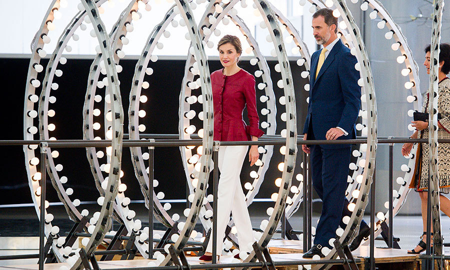 King Felipe VI of Spain and wife Queen Letizia helped light up the room as they attended the Botin Center inauguration in Santander on June 23. 