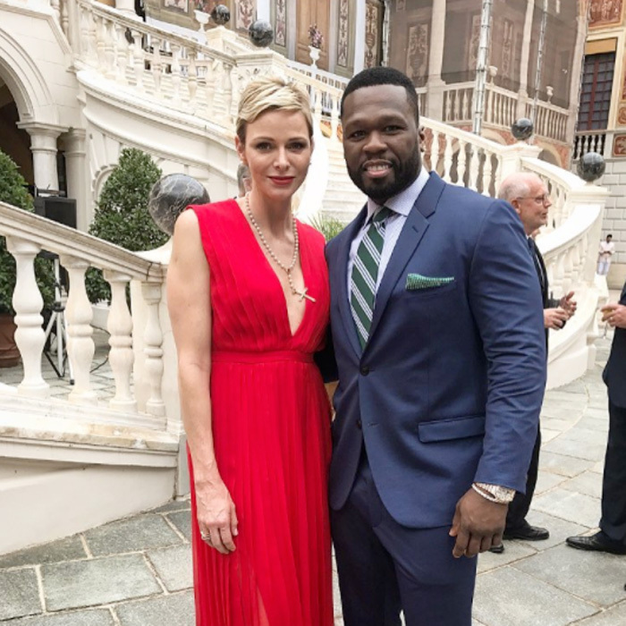 "Rapper 50 Cent reunited with friend Princess Charlene at the royal palace in Monaco in celebration of the Monte Carlo TV Festival. Sharing a photo from the festivities, 50 wrote, ""I really had a amazing time.""