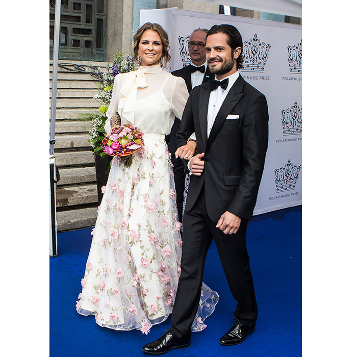 With their respective spouses Chris O'Neill and Princess Sofia sitting out the Polar Music Prize gala, Princess Madeleine of Sweden and her brother Prince Carl Philip teamed up for the show's red carpet on June 15 in Stockholm.