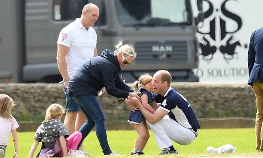 Mia Tindall had a fun day out and about at the Maserati Royal Charity Polo Trophy held at the Beaufort Polo Club in Tetbury, England. The Queen's great-granddaughter, was joined by her mother, Zara Phillips, and father, Mike Tindall, as well as second cousin, Prince William, who spent some quality time rolling around in the grass with the tot after the match.
