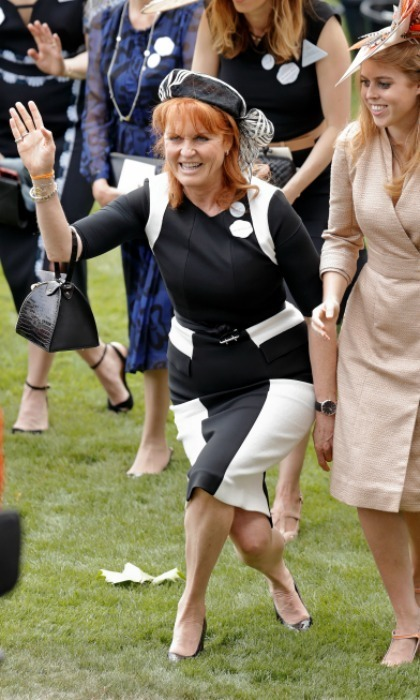 As daughter Princess Beatrice burst into a grin, Sarah, Duchess of York had a curtsey and a wave for her ex-mother-in-law Elizabeth as the monarch arrived.