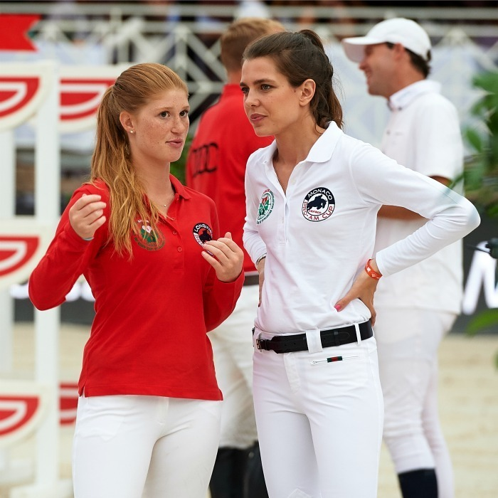 During the horse jumping event itself Charlotte chatted with Bill Gates' daughter Jennifer, who was a fellow competitor at the event.