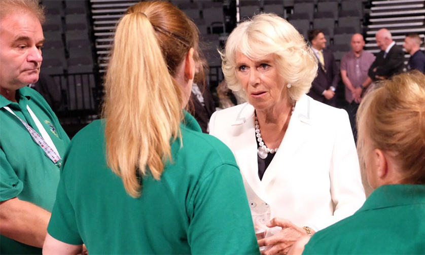 The Duchess of Cornwall speaks to medical staff who helped on the night of the Manchester terror attack.