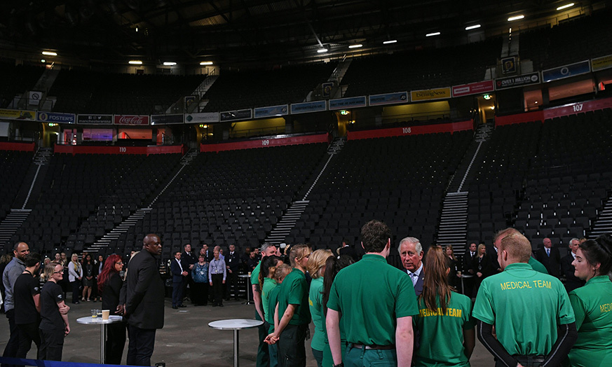Prince Charles meets staff who helped the victims of the May 22 bomb attack at the Manchester arena.