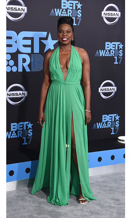 <em>Saturday Night Live</em>'s Leslie Jones looked stunning in a green halter dress by Stello. 