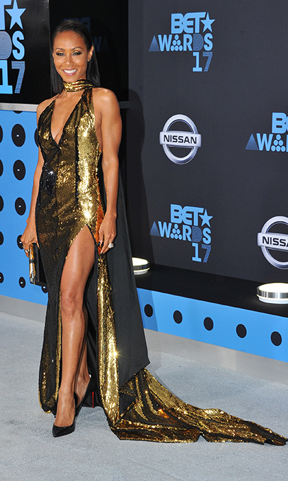 At the 2017 BET Awards, Jada Pinkett Smith shimmered on the carpet in a gold Alexander Vauthier gown, picked out by celebrity stylist Law Roach. 