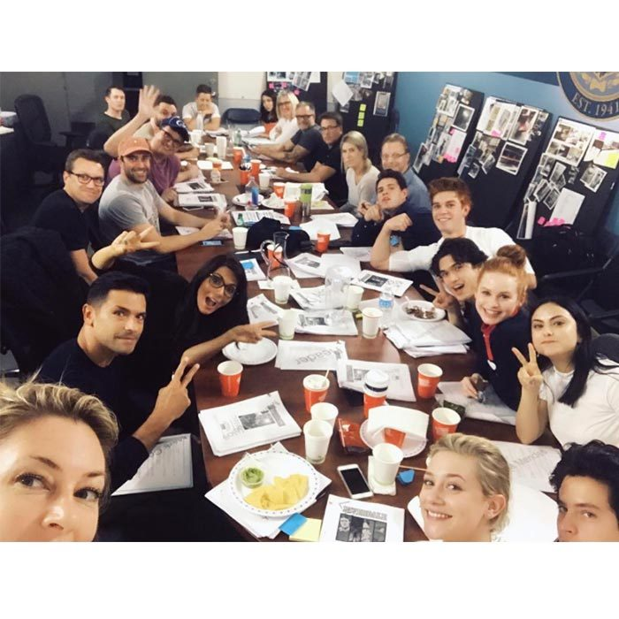 Mädchen Amick, who plays Betty Cooper's mother Alice, posted a photo on Instagram of the cast at the first table read. All the main characters from the show are accounted for, from Camila Mendes (Veronica Lodge) to KJ Apa (Archie Andrews) to Lili Reinhart (Betty Cooper) and Cole Sprouse (Jughead Jones) but Luke Perry is no where to be found. 