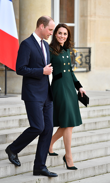 Prince William and Kate pictured in Paris at the Élysée Palace.