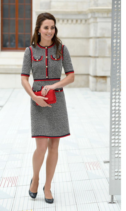 Kate Middleton wore a tweed Gucci mini dress for her visit to the Victoria and Albert Museum to officially open the Museum's new entrance, courtyard and exhibition gallery on June 29.