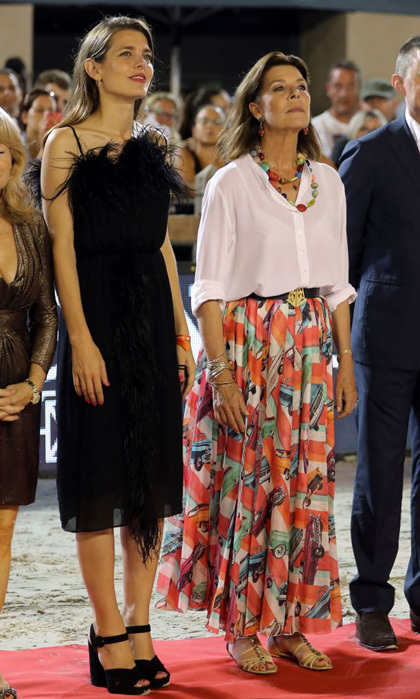 Charlotte Casiraghi and her mom Princess Caroline dressed up for the Global Champions Tour horse jumping competition in Monaco on June 24. 