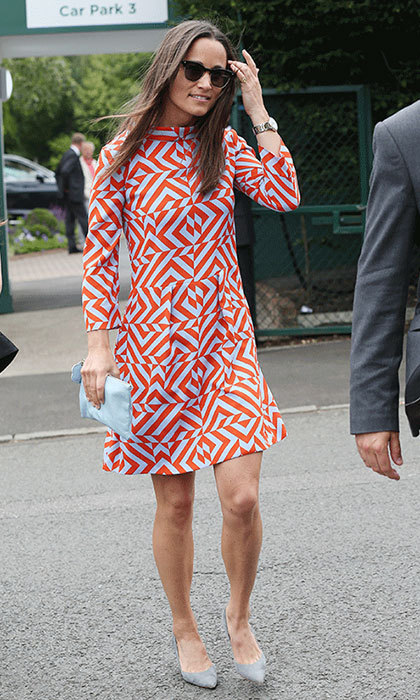 "<p><strong><a href=""/tags/0/pippa-middleton"">Pippa Middleton</a></strong> stood out in a sixties-inspired geometric print as she enjoyed a day out at the tennis back in 2016, teamed with a pastel blue clutch and dove grey heels.&nbsp;</p>