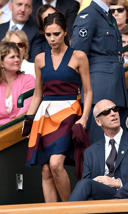 "<p><strong><a href=""/tags/0/victoria-beckham"">Victoria Beckham</a></strong> is renowned for her sense of style, having made a successful career for herself as a fashion designer in the last few years. During Wimbledon 2014, she looked lovely in a vibrant stripped summer dress in hues of orange, burgandy, white and navy.</p>