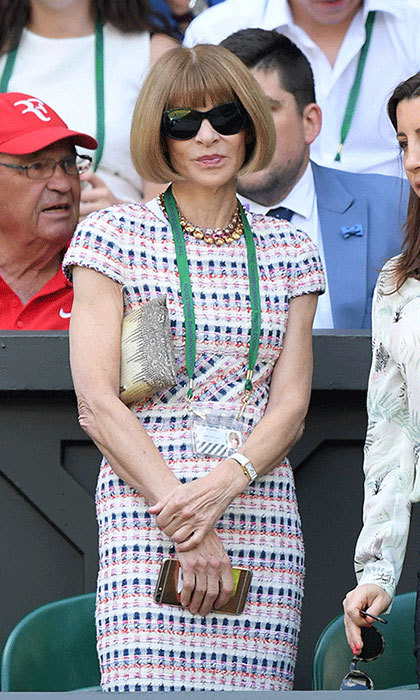 "<p><strong><a href=""/tags/0/anna-wintour"">Anna Wintour</a></strong> looked fabulous in a form-fitting tweed midi-dress while enjoying the tennis during Wimbledon 2016. When it came to styling, she opted for a small clutch and her trademark oversized sunglasses - naturally.&nbsp;</p>