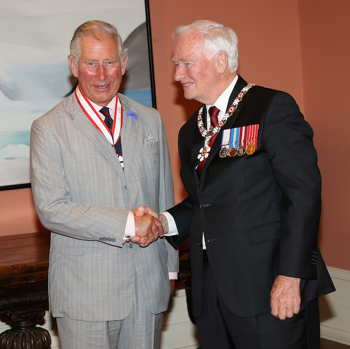 The Duke of Cornwall was delighted to receive the Order of Canada from Governor General David Johnston. Charles is now an Extraordinary Companion of the Order, of which his mother, the Queen, is sovereign. 