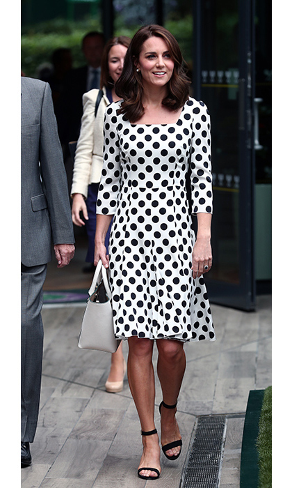 Kate wore a polka dot dress by Dolce & Gabbana. 