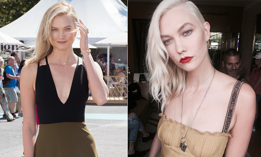 Karlie Kloss took her look from girl-next-door to glam by dying her hair colour quite a few shades lighter to platinum blond. Karlie unveiled her bold new style, created by celebrity hair guru Jen Atkin, at Haute Couture Fashion Week in Paris. 