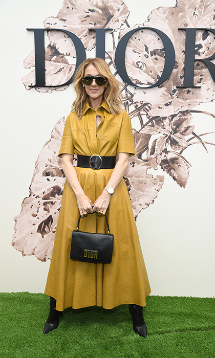 Celine Dion dazzled in a mustard leather dress from the French fashion house. 