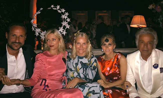 Norway's Crown Prince (left) and Crown Princess (centre), along with designer Tory Burch (second from right) attended the joint birthday celebration.