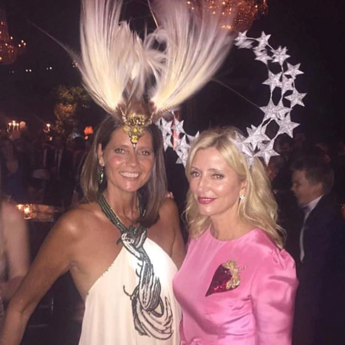 Crown Prince Pavlos' wife (right) wowed wearing an elaborate headpiece by Phillip Treacy.