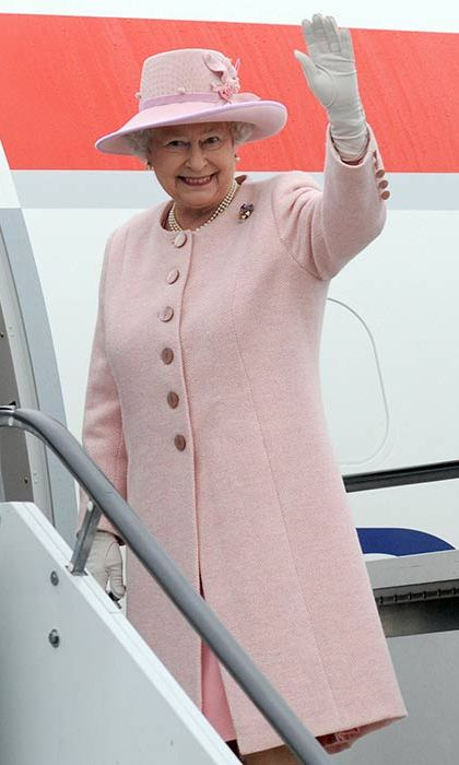The Queen boarding a flight from Slovenia in 2008.