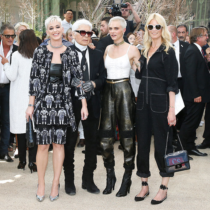 At Chanel, designer Karl Lagerfeld was surrounded by a star lineup including Katy Perry, Cara Delevingne and supermodel legend Claudia Schiffer.