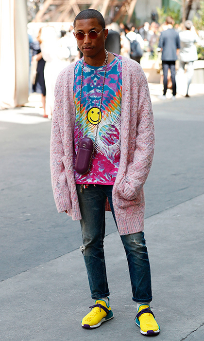 Pharrell's colorful outfit at Chanel came complete with a Happy face.