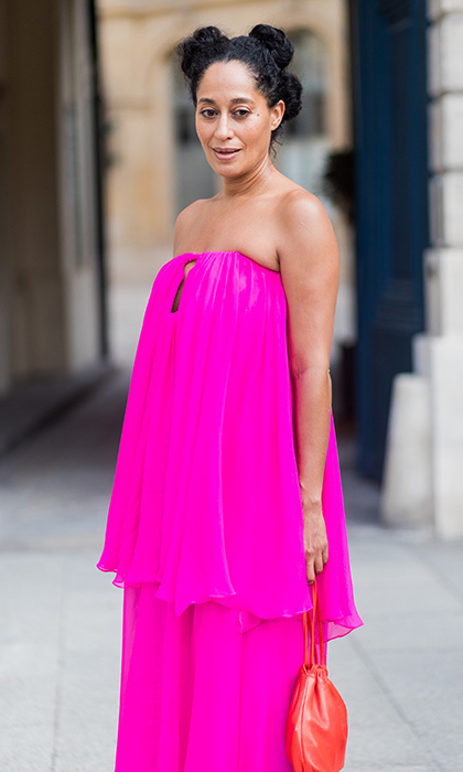Tracee Ellis Ross sizzled in hot pink at Schiaparelli.