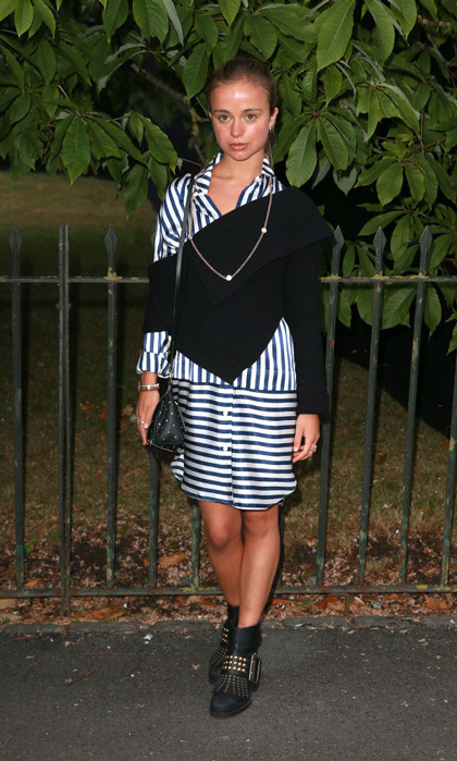 Lady Amelia Windsor wore a rocker chic look to the 2017 Serpentine Galleries Summer Party in June. She paired her striped dress with moto-inspired boots.