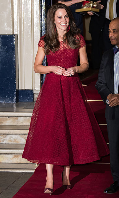 Kates Red Lace Marchesa Dress Is Back In Stock HELLO