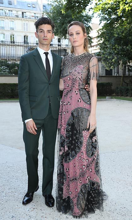 Brie Larson and fiancé Alex Greenwald went glam for the Valentino show.