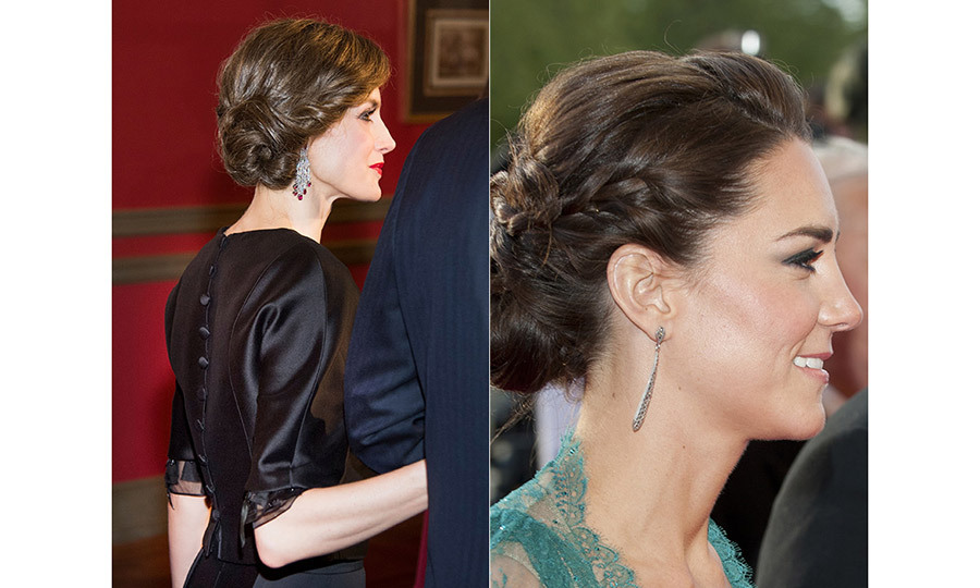 Up or down, their glossy dark hair is always styled in the most impeccable way. Kate is known for her trademark bouncy waves, while Letizia often opts for a sleek, straight look. Here, the two royals amp up the glamour with their chic up-dos for evening engagements.