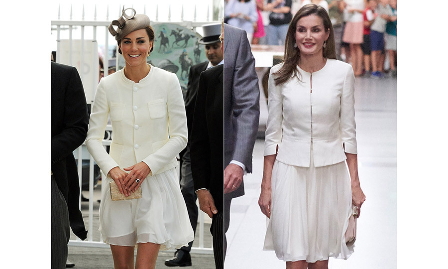 <p>Last month, Letizia seemed to be taking style inspiration from the Duchess when she visited the El Prado art museum in Madrid. Letizia recycled her Varela pleated chiffon skirt with the Jeisana peplum cut blazer by Hugo Boss – an outfit she previously wore in June 2015 for the Armed Forces Day.</p>