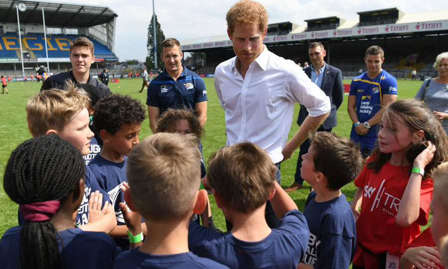 <p>Prince Harry kicked off his two-day visit to Leeds by attending the Leeds Leads: Encouraging Happy Young Minds event. &ldquo;I cannot tell you how pleased William, Catherine and I are that the dial seems to have shifted and that there is now greater understanding, compassion and kindness for anyone who opens up about their struggles,&rdquo; he shared during his speech. &ldquo;But let&rsquo;s not kid ourselves that the job is done &mdash; there is much, much more that we can do at every level to make conversations about mental health as common place as those about physical health.&rdquo; <br/><br/>The 32-year-old then mentioned an interesting fact he had learned. &ldquo;I read recently that young people check their phones at least 150 times per day &ndash; I&rsquo;m sure we could all be more effective and efficient if we took a moment to process our thoughts rather than rushing from one thing to the next.&rdquo;<br/><br/>The British royal then visited Headingley Carnegie Stadium with rugby player Kevin Sinfield.<br/><br/>Photo: Getty Images</p>